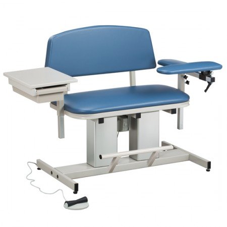 Clinton 6362 Bariatric Power Drawing Chair with Padded Arm & Drawer.