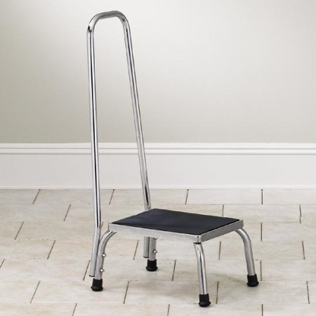 Chrome Step Stool with Rail