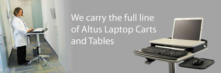 Altus Workstuff laptop tables medical hospital computer cart