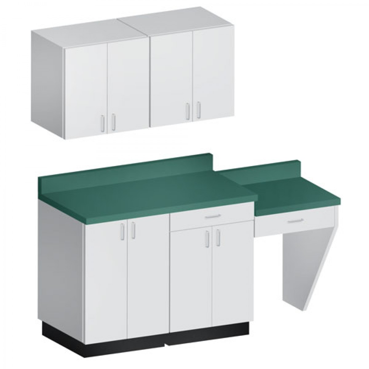 Hausmann B-404 74 Inch Base Cabinet W/ Desk And Wall Cabinets