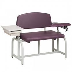 Clinton 66002B Bariatric Drawing Chair with Padded Flip Arm & Drawer