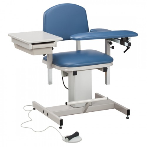 Clinton 6342 Power Blood Drawing Chair with Padded Flip Arm and Drawer