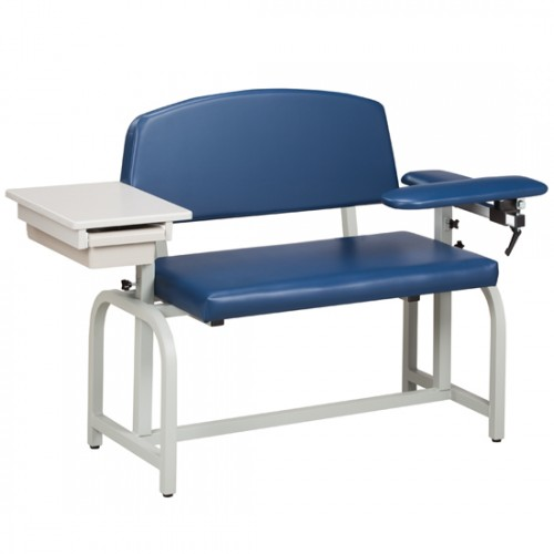 Clinton 66002 X-Wide Blood Drawing Chair w/ Padded Flip Arm & Drawer