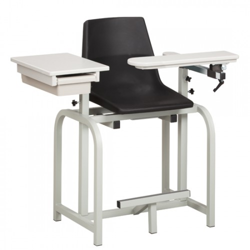 Clinton 66022-P Extra-Tall Blood Drawing Chair w/ Flip Arm & Drawer